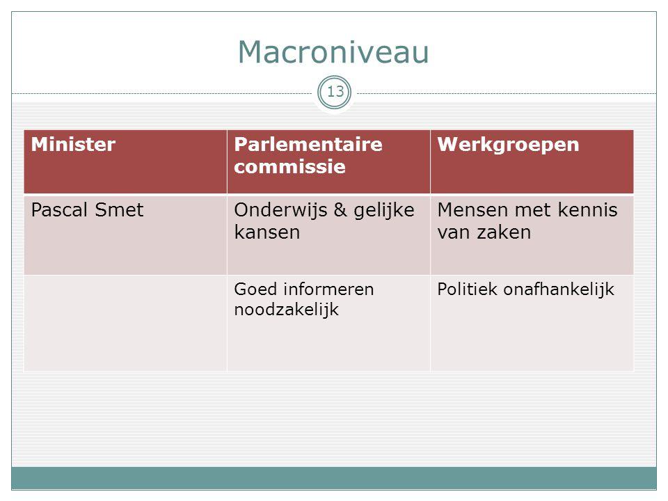 Macroniveau MinisterParlementaire commissie Werkgroepen Pascal SmetOnderwijs & gelijke kansen Mensen met kennis van zaken Goed informeren noodzakelijk Politiek onafhankelijk 13