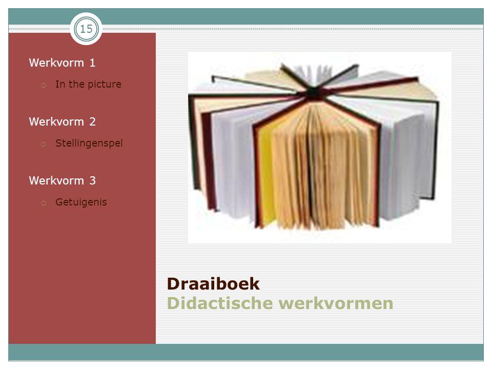 15 Draaiboek Didactische werkvormen • Werkvorm 1  In the picture • Werkvorm 2  Stellingenspel • Werkvorm 3  Getuigenis