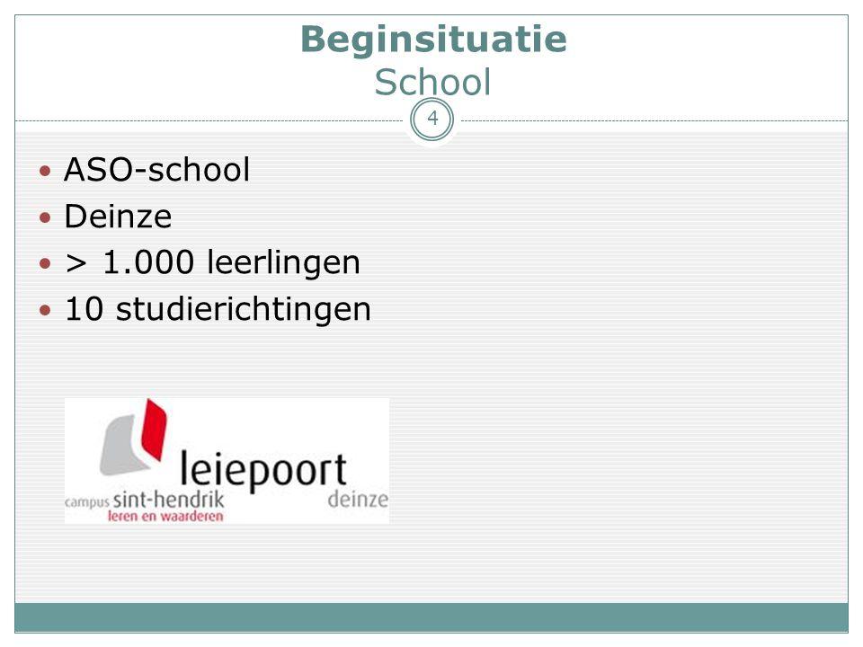 Beginsituatie School 4  ASO-school  Deinze  > 1.000 leerlingen  10 studierichtingen