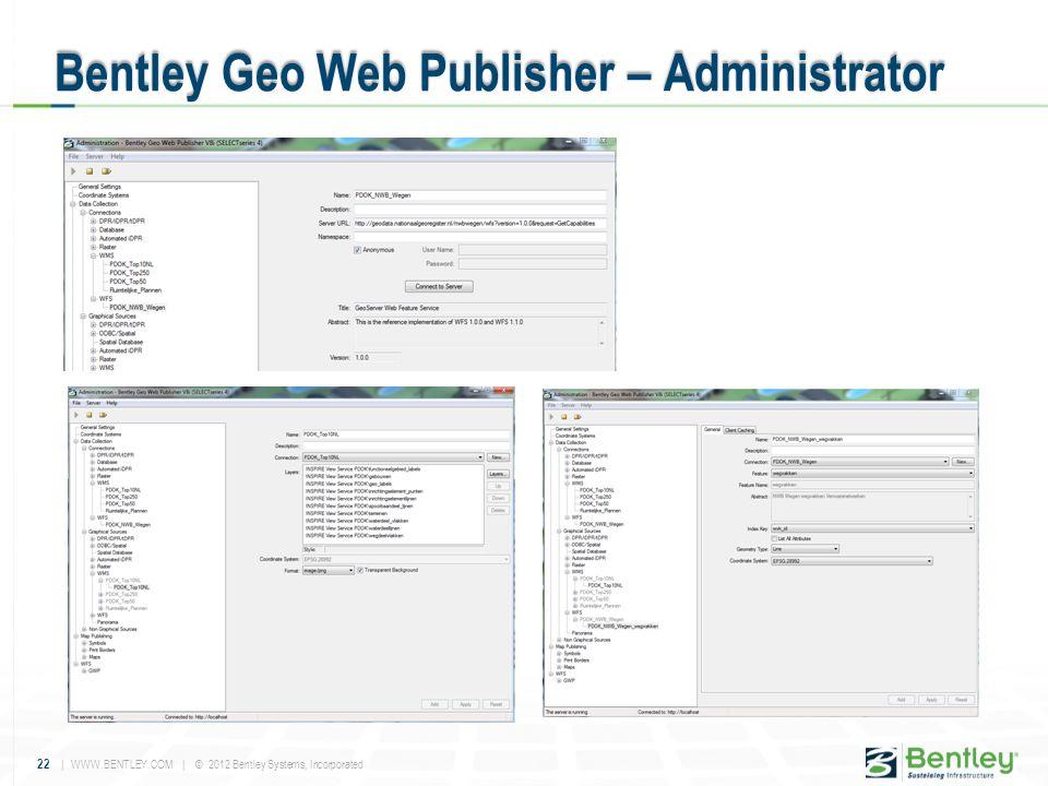 22 | WWW.BENTLEY.COM | © 2012 Bentley Systems, Incorporated Bentley Geo Web Publisher – Administrator
