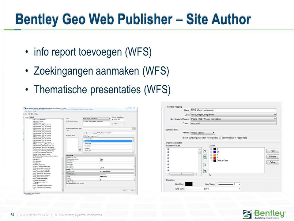 24 | WWW.BENTLEY.COM | © 2012 Bentley Systems, Incorporated •info report toevoegen (WFS) •Zoekingangen aanmaken (WFS) •Thematische presentaties (WFS)
