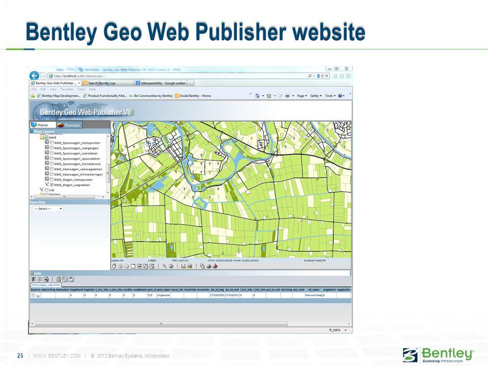 25 | WWW.BENTLEY.COM | © 2012 Bentley Systems, Incorporated Bentley Geo Web Publisher website