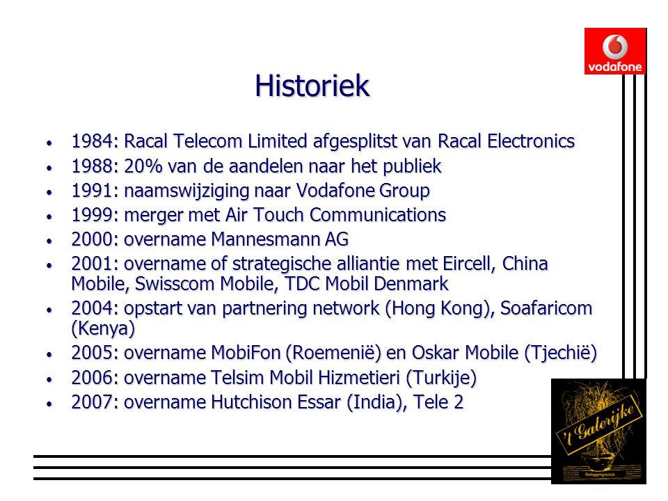 Historiek • 1984: Racal Telecom Limited afgesplitst van Racal Electronics • 1988: 20% van de aandelen naar het publiek • 1991: naamswijziging naar Vodafone Group • 1999: merger met Air Touch Communications • 2000: overname Mannesmann AG • 2001: overname of strategische alliantie met Eircell, China Mobile, Swisscom Mobile, TDC Mobil Denmark • 2004: opstart van partnering network (Hong Kong), Soafaricom (Kenya) • 2005: overname MobiFon (Roemenië) en Oskar Mobile (Tjechië) • 2006: overname Telsim Mobil Hizmetieri (Turkije) • 2007: overname Hutchison Essar (India), Tele 2