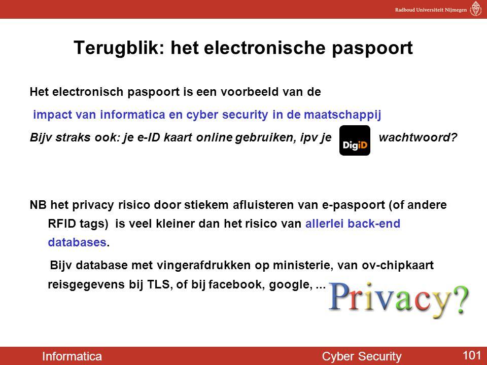 Informatica Cyber Security 101 Terugblik: het electronische paspoort Het electronisch paspoort is een voorbeeld van de impact van informatica en cyber