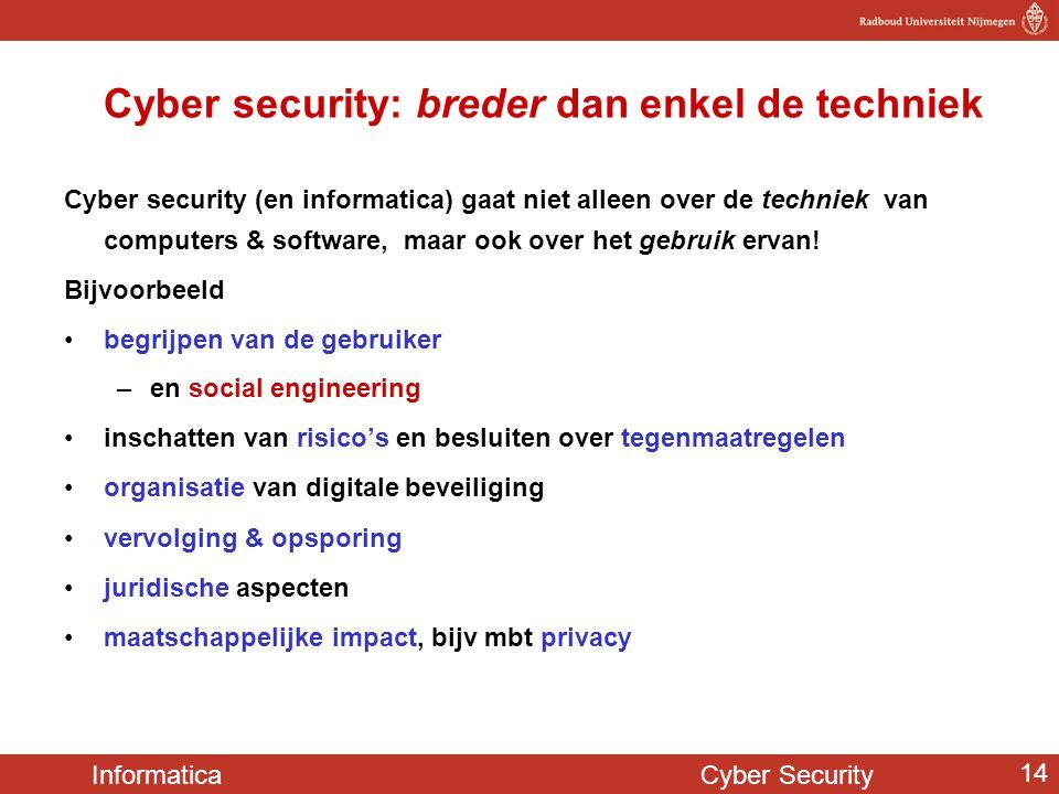 Informatica Cyber Security 14 Cyber security: breder dan enkel de techniek Cyber security (en informatica) gaat niet alleen over de techniek van compu