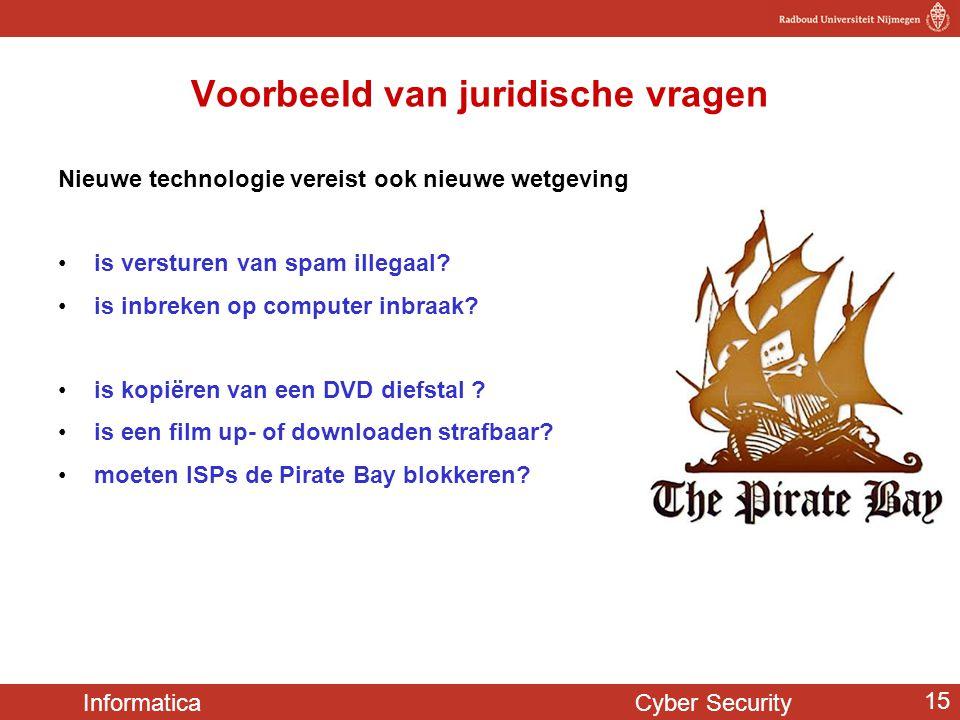 Informatica Cyber Security 15 Voorbeeld van juridische vragen Nieuwe technologie vereist ook nieuwe wetgeving •is versturen van spam illegaal? •is inb