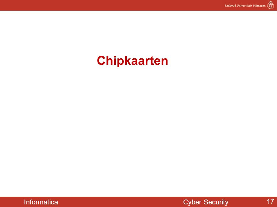Informatica Cyber Security 17 Chipkaarten