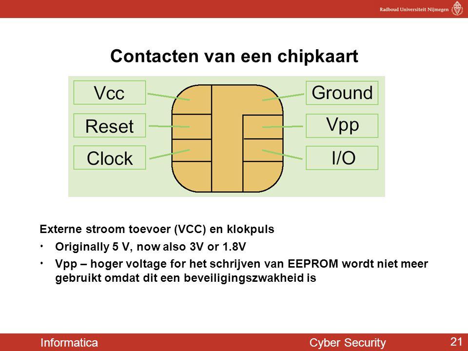 Informatica Cyber Security 21 Contacten van een chipkaart Externe stroom toevoer (VCC) en klokpuls • Originally 5 V, now also 3V or 1.8V • Vpp – hoger