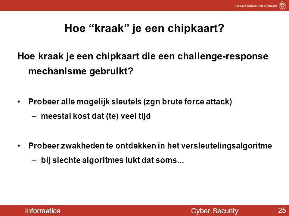 """Informatica Cyber Security 25 Hoe """"kraak"""" je een chipkaart? Hoe kraak je een chipkaart die een challenge-response mechanisme gebruikt? •Probeer alle m"""