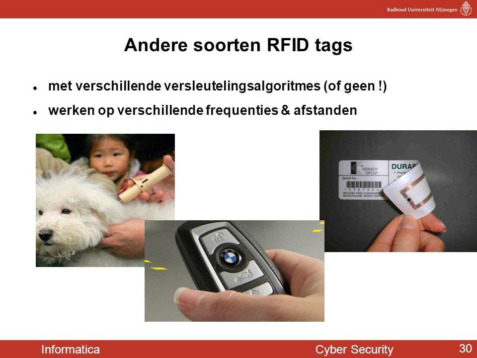 Informatica Cyber Security 30  met verschillende versleutelingsalgoritmes (of geen !)  werken op verschillende frequenties & afstanden Andere soorte