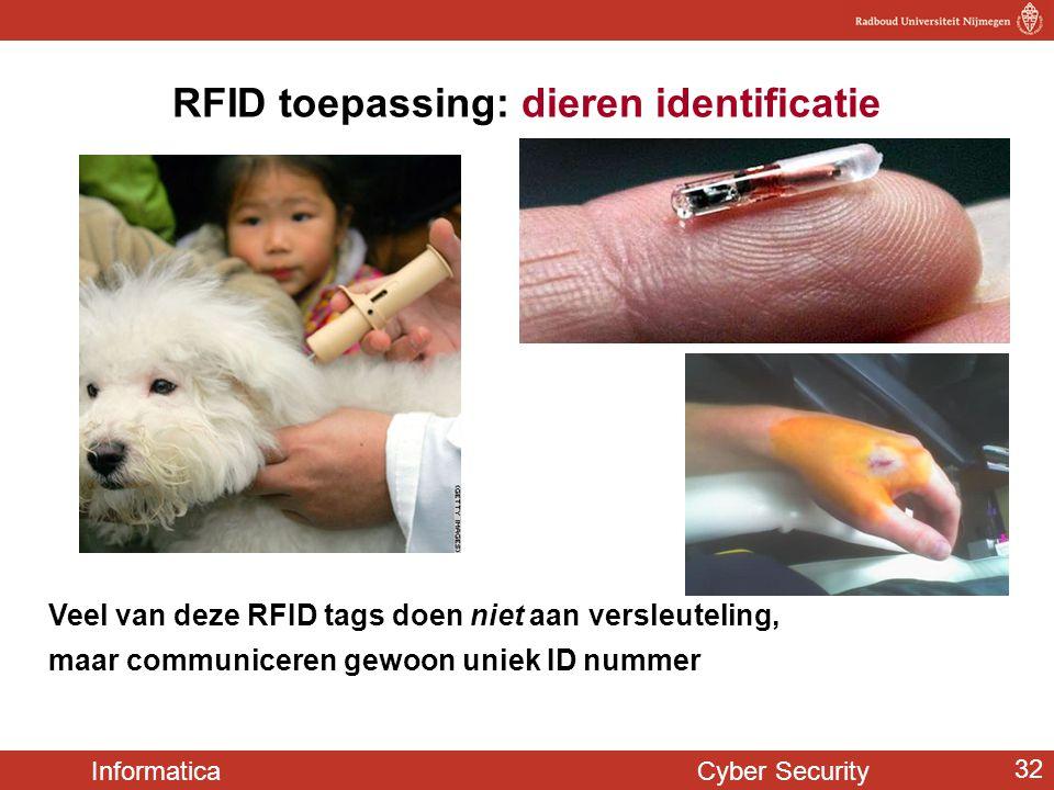 Informatica Cyber Security 32 RFID toepassing: dieren identificatie Veel van deze RFID tags doen niet aan versleuteling, maar communiceren gewoon unie