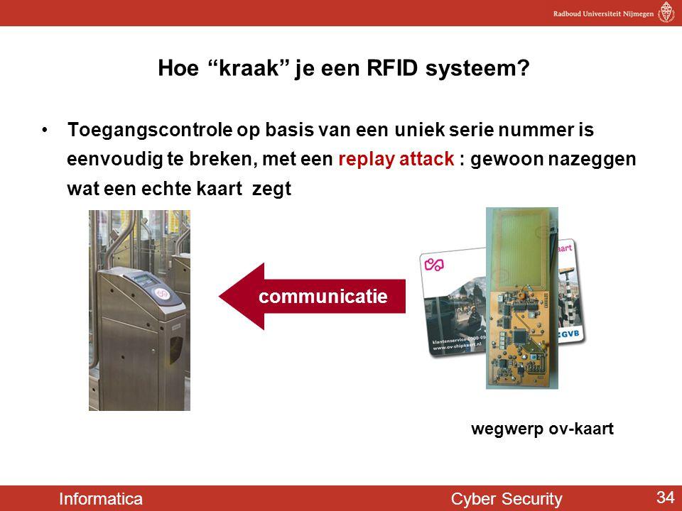 """Informatica Cyber Security 34 Hoe """"kraak"""" je een RFID systeem? •Toegangscontrole op basis van een uniek serie nummer is eenvoudig te breken, met een r"""