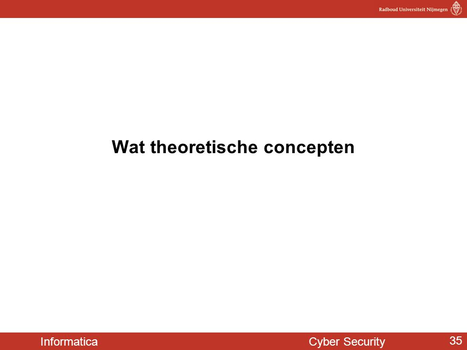 Informatica Cyber Security 35 Wat theoretische concepten