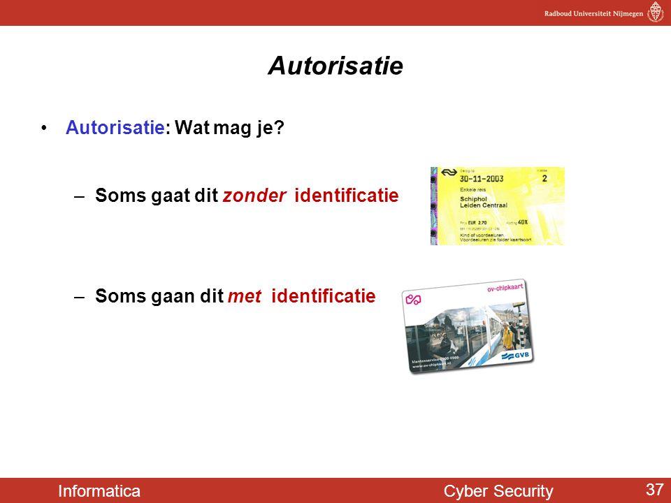 Informatica Cyber Security 37 Autorisatie •Autorisatie: Wat mag je? –Soms gaat dit zonder identificatie –Soms gaan dit met identificatie