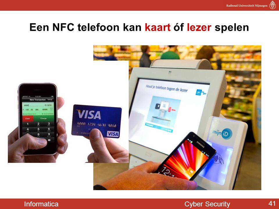 Informatica Cyber Security 41 Een NFC telefoon kan kaart óf lezer spelen