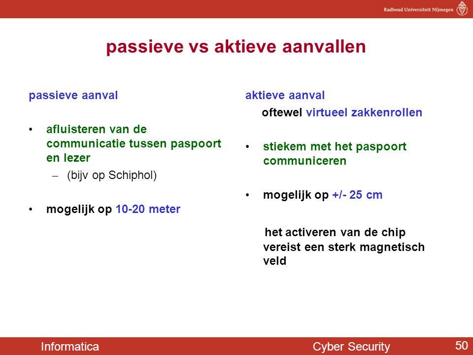 Informatica Cyber Security 50 passieve vs aktieve aanvallen passieve aanval • afluisteren van de communicatie tussen paspoort en lezer – (bijv op Schi