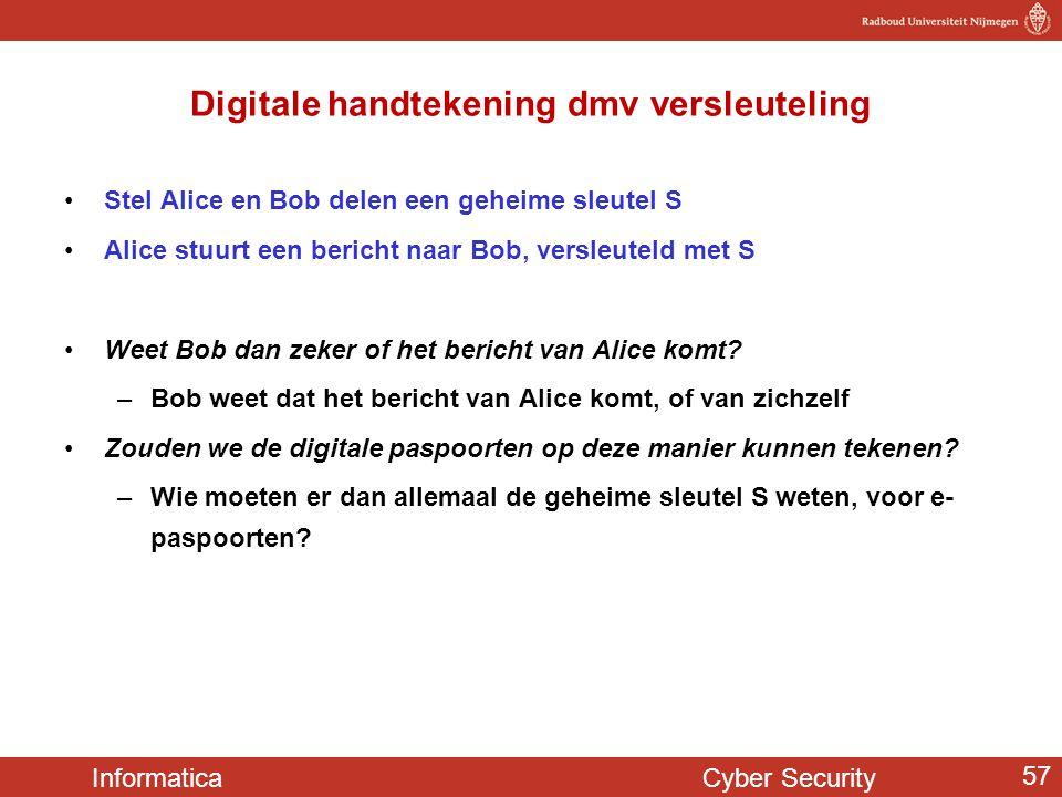 Informatica Cyber Security 57 Digitale handtekening dmv versleuteling •Stel Alice en Bob delen een geheime sleutel S •Alice stuurt een bericht naar Bo