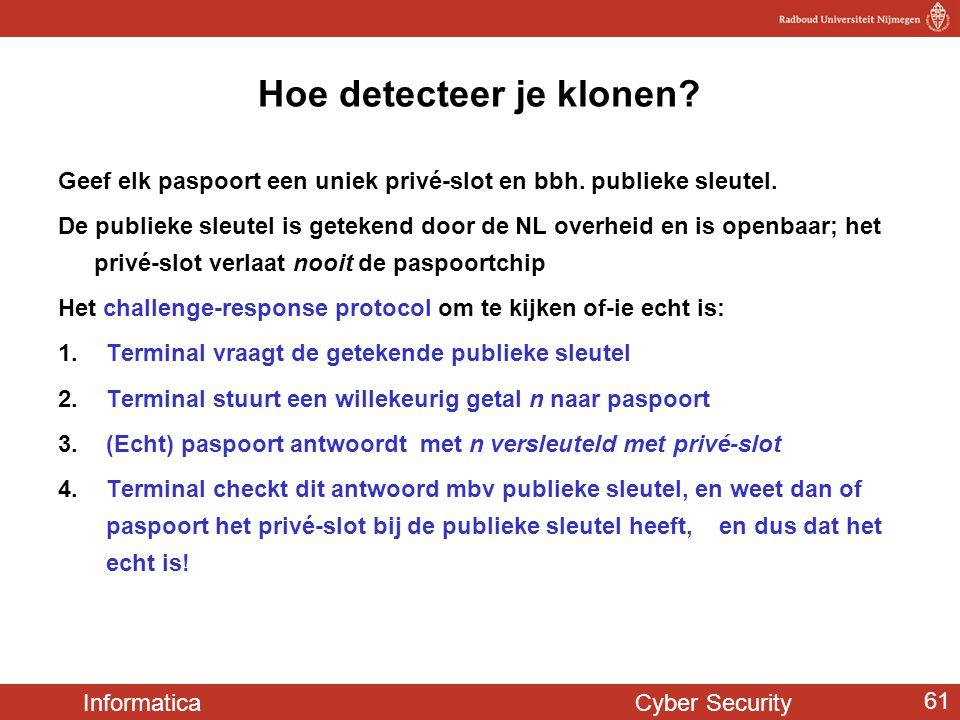 Informatica Cyber Security 61 Hoe detecteer je klonen? Geef elk paspoort een uniek privé-slot en bbh. publieke sleutel. De publieke sleutel is geteken