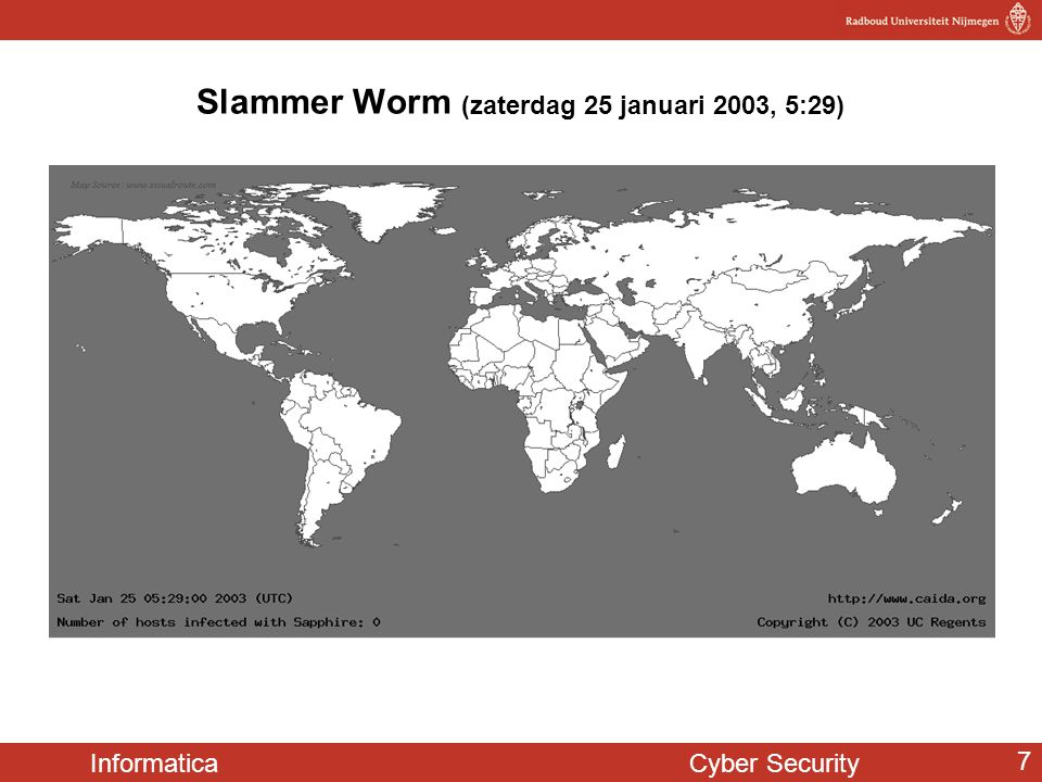 Informatica Cyber Security 7 Slammer Worm (zaterdag 25 januari 2003, 5:29)