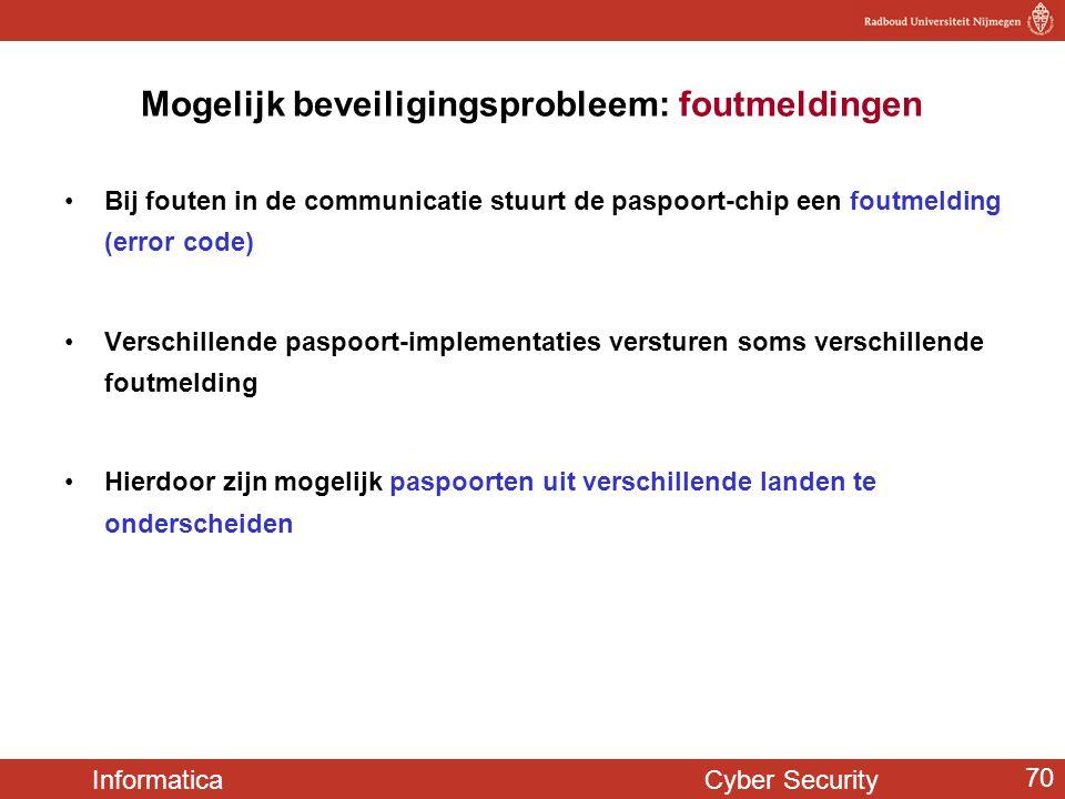 Informatica Cyber Security 70 Mogelijk beveiligingsprobleem: foutmeldingen •Bij fouten in de communicatie stuurt de paspoort-chip een foutmelding (err