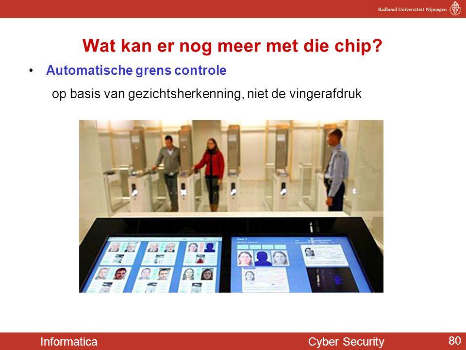 Informatica Cyber Security 80 Wat kan er nog meer met die chip? •Automatische grens controle op basis van gezichtsherkenning, niet de vingerafdruk