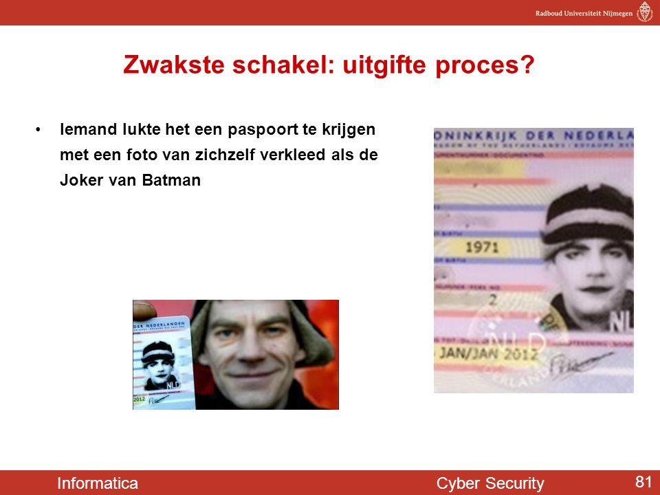 Informatica Cyber Security 81 Zwakste schakel: uitgifte proces? •Iemand lukte het een paspoort te krijgen met een foto van zichzelf verkleed als de Jo