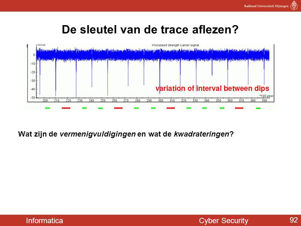 Informatica Cyber Security 92 De sleutel van de trace aflezen? Wat zijn de vermenigvuldigingen en wat de kwadrateringen?