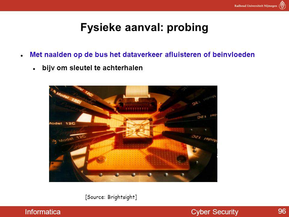 Informatica Cyber Security 96 Fysieke aanval: probing  Met naalden op de bus het dataverkeer afluisteren of beinvloeden  bijv om sleutel te achterha