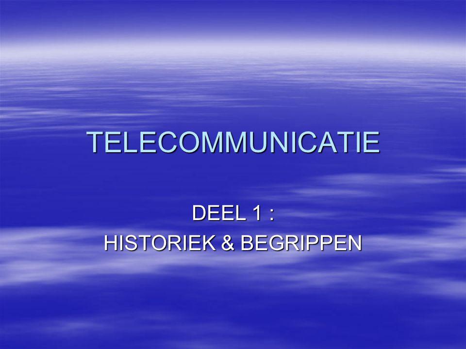 TELECOMMUNICATIE DEEL 1 : HISTORIEK & BEGRIPPEN