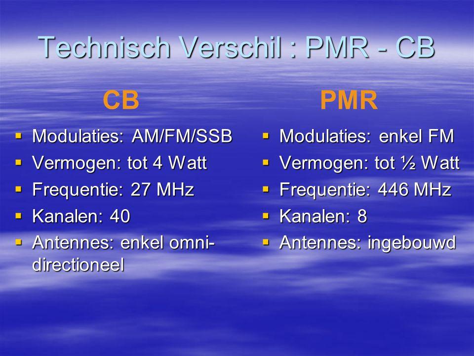 Technisch Verschil : PMR - CB  Modulaties: AM/FM/SSB  Vermogen: tot 4 Watt  Frequentie: 27 MHz  Kanalen: 40  Antennes: enkel omni- directioneel 