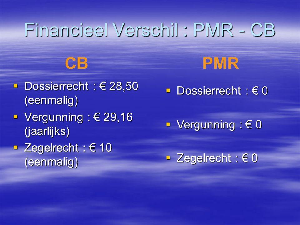 Financieel Verschil : PMR - CB  Dossierrecht : € 28,50 (eenmalig)  Vergunning : € 29,16 (jaarlijks)  Zegelrecht : € 10 (eenmalig) CBPMR  Dossierre