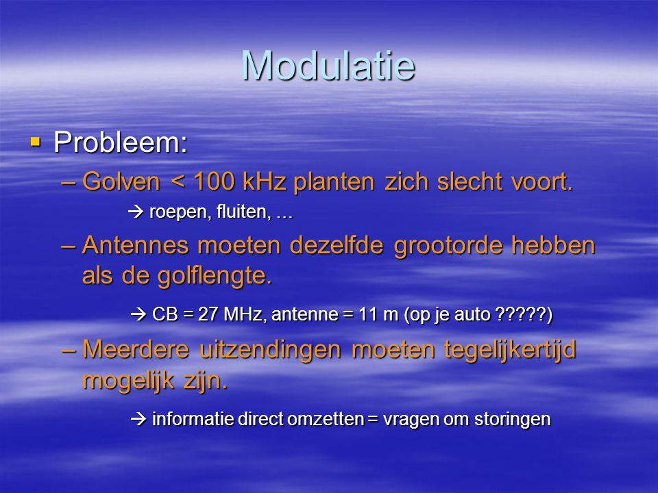Modulatie  Probleem: –Golven < 100 kHz planten zich slecht voort.  roepen, fluiten, … –Antennes moeten dezelfde grootorde hebben als de golflengte.