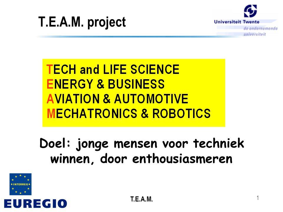 T.E.A.M. 1 Doel: jonge mensen voor techniek winnen, door enthousiasmeren T.E.A.M. project