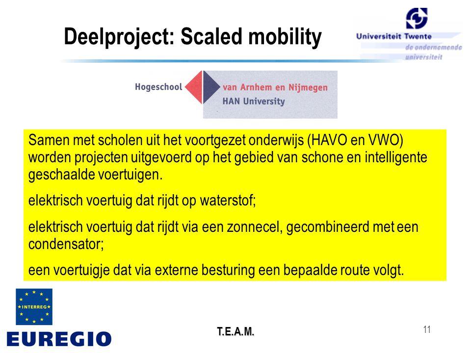 T.E.A.M. 11 Deelproject: Scaled mobility Samen met scholen uit het voortgezet onderwijs (HAVO en VWO) worden projecten uitgevoerd op het gebied van sc