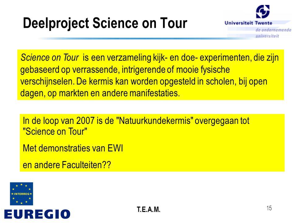 T.E.A.M. 15 Deelproject Science on Tour Science on Tour is een verzameling kijk- en doe- experimenten, die zijn gebaseerd op verrassende, intrigerende