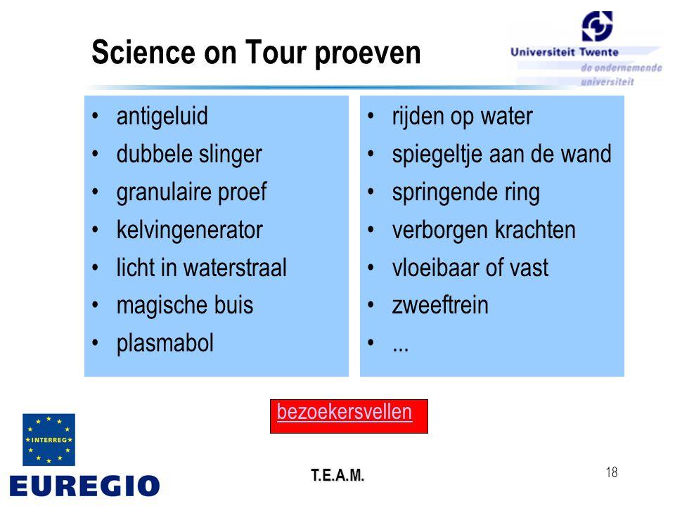 T.E.A.M. 18 Science on Tour proeven •antigeluid •dubbele slinger •granulaire proef •kelvingenerator •licht in waterstraal •magische buis •plasmabol •