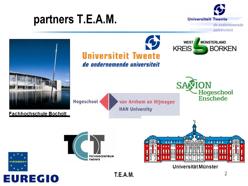 T.E.A.M. 2 Universität Münster Fachhochschule Bocholt partners T.E.A.M.