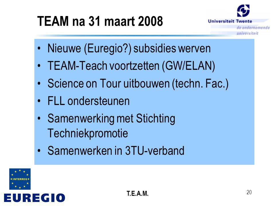 T.E.A.M. 20 TEAM na 31 maart 2008 •Nieuwe (Euregio?) subsidies werven •TEAM-Teach voortzetten (GW/ELAN) •Science on Tour uitbouwen (techn. Fac.) •FLL