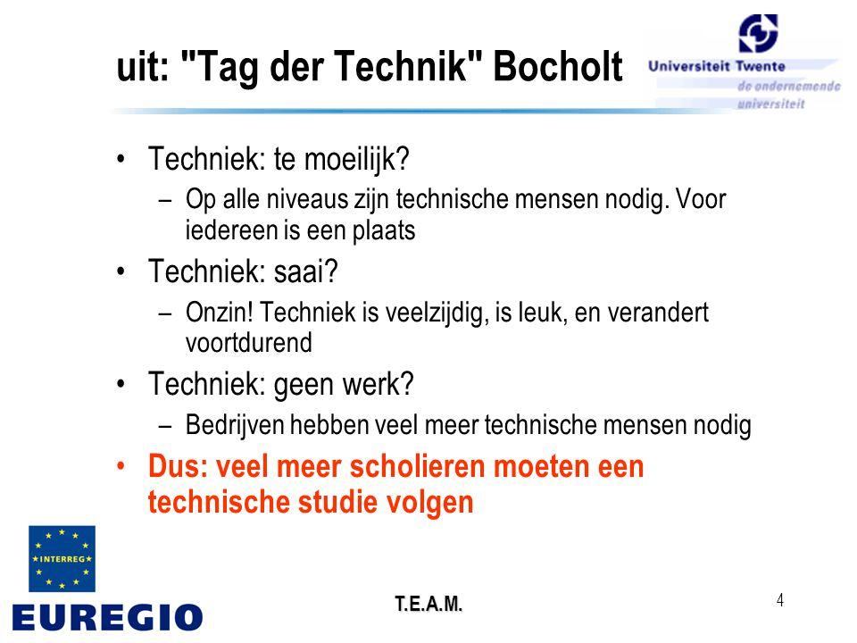 T.E.A.M. 4 uit: Tag der Technik Bocholt •Techniek: te moeilijk.