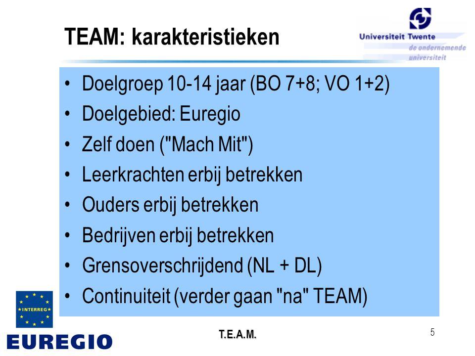 T.E.A.M. 5 TEAM: karakteristieken •Doelgroep 10-14 jaar (BO 7+8; VO 1+2) •Doelgebied: Euregio •Zelf doen (