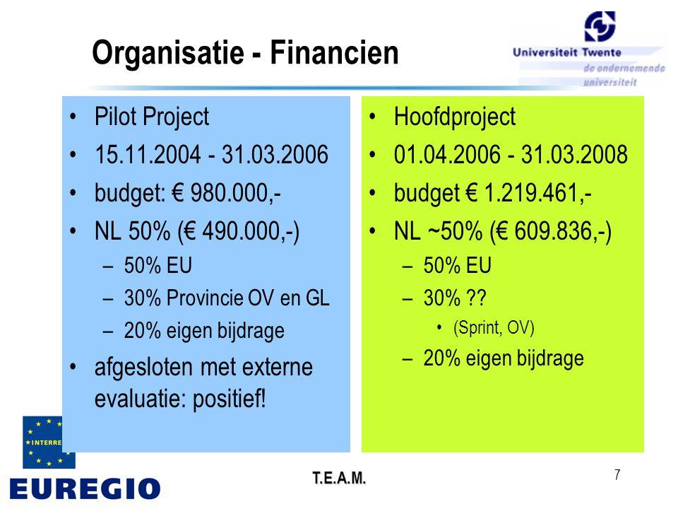 T.E.A.M. 7 Organisatie - Financien •Pilot Project •15.11.2004 - 31.03.2006 •budget: € 980.000,- •NL 50% (€ 490.000,-) –50% EU –30% Provincie OV en GL
