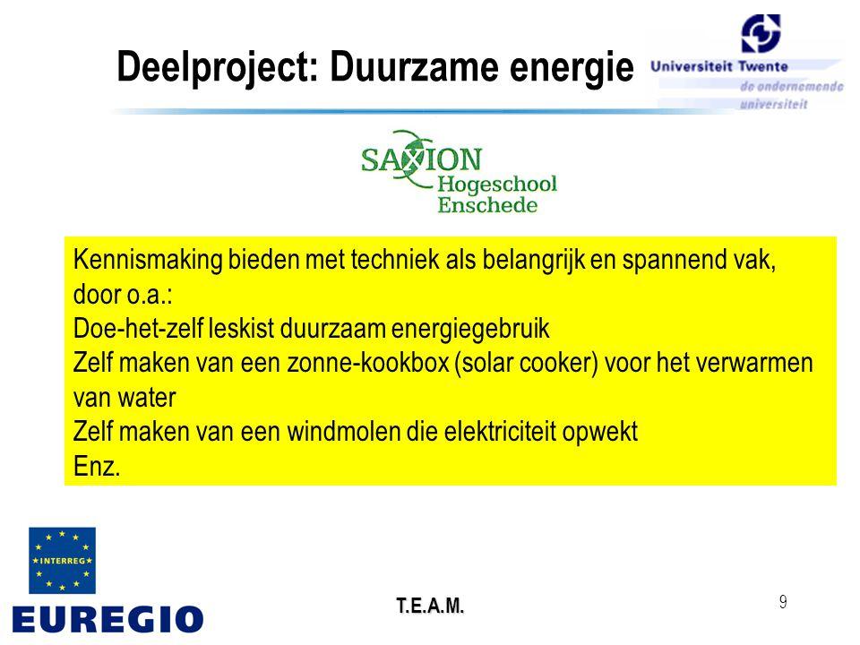 T.E.A.M. 9 Deelproject: Duurzame energie Kennismaking bieden met techniek als belangrijk en spannend vak, door o.a.: Doe-het-zelf leskist duurzaam ene