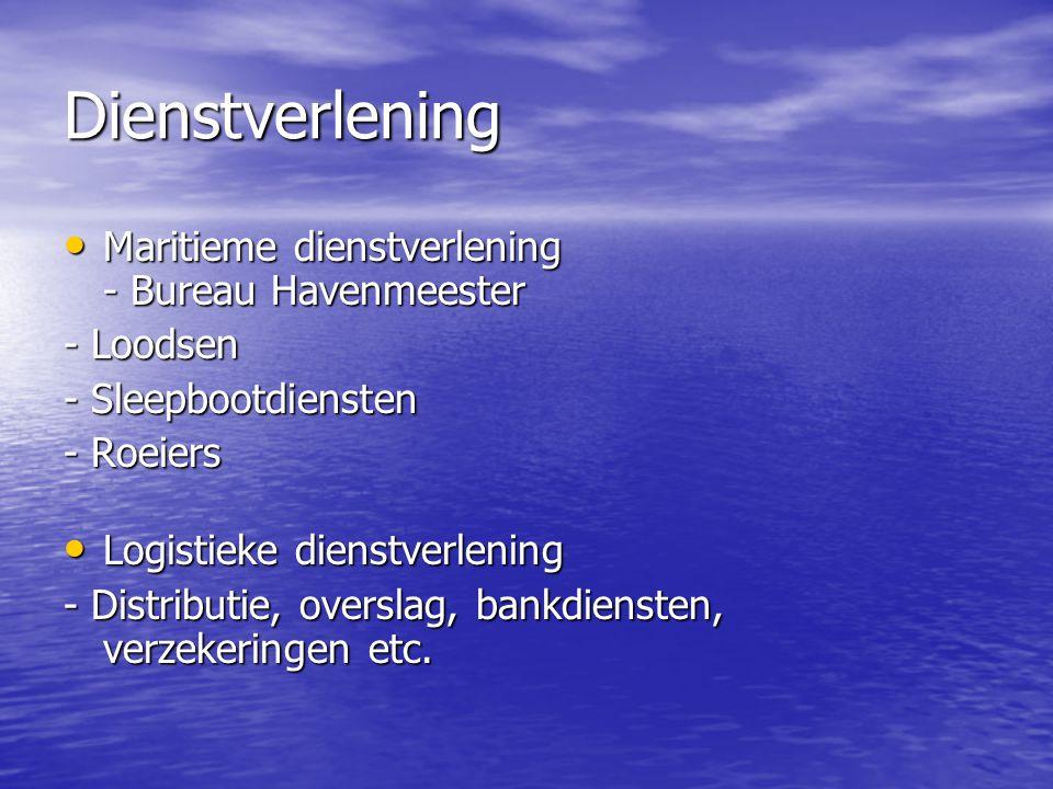 Dienstverlening • Maritieme dienstverlening - Bureau Havenmeester - Loodsen - Sleepbootdiensten - Roeiers • Logistieke dienstverlening - Distributie,