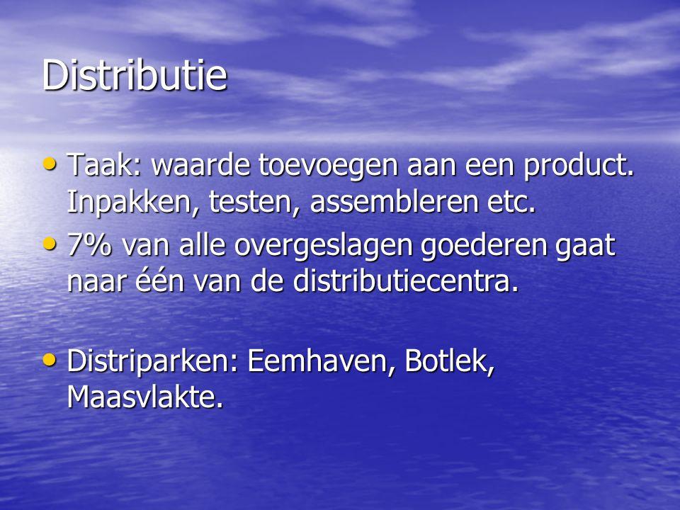 Distributie • Taak: waarde toevoegen aan een product. Inpakken, testen, assembleren etc. • 7% van alle overgeslagen goederen gaat naar één van de dist
