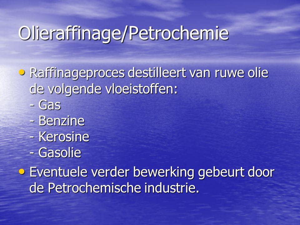 Olieraffinage/Petrochemie • Raffinageproces destilleert van ruwe olie de volgende vloeistoffen: - Gas - Benzine - Kerosine - Gasolie • Eventuele verde