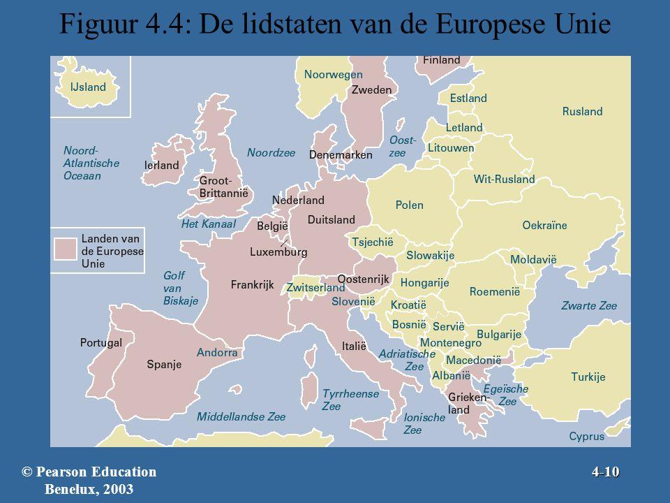 Figuur 4.4: De lidstaten van de Europese Unie © Pearson Education Benelux, 20034-10