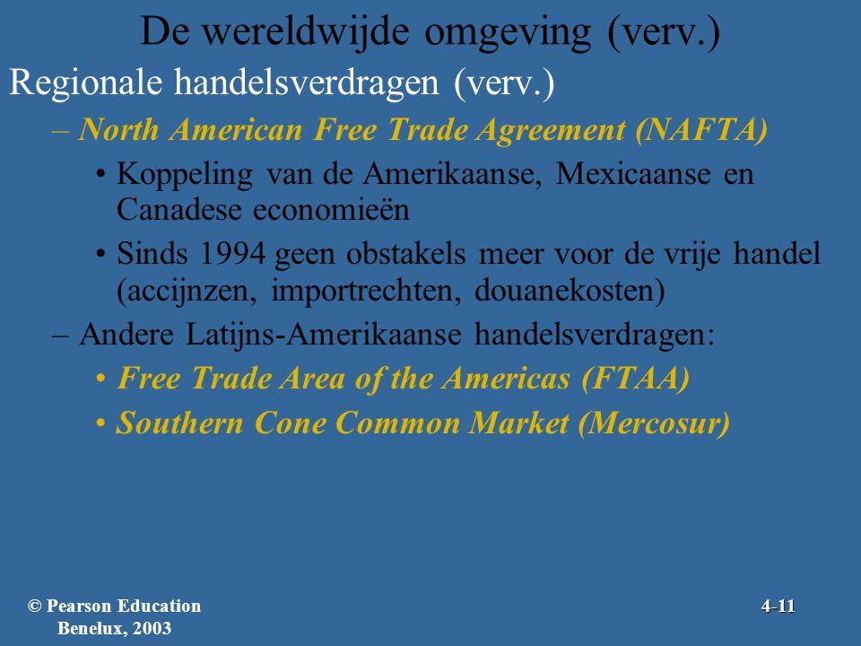 De wereldwijde omgeving (verv.) Regionale handelsverdragen (verv.) –North American Free Trade Agreement (NAFTA) •Koppeling van de Amerikaanse, Mexicaanse en Canadese economieën •Sinds 1994 geen obstakels meer voor de vrije handel (accijnzen, importrechten, douanekosten) –Andere Latijns-Amerikaanse handelsverdragen: •Free Trade Area of the Americas (FTAA) •Southern Cone Common Market (Mercosur) © Pearson Education Benelux, 20034-11