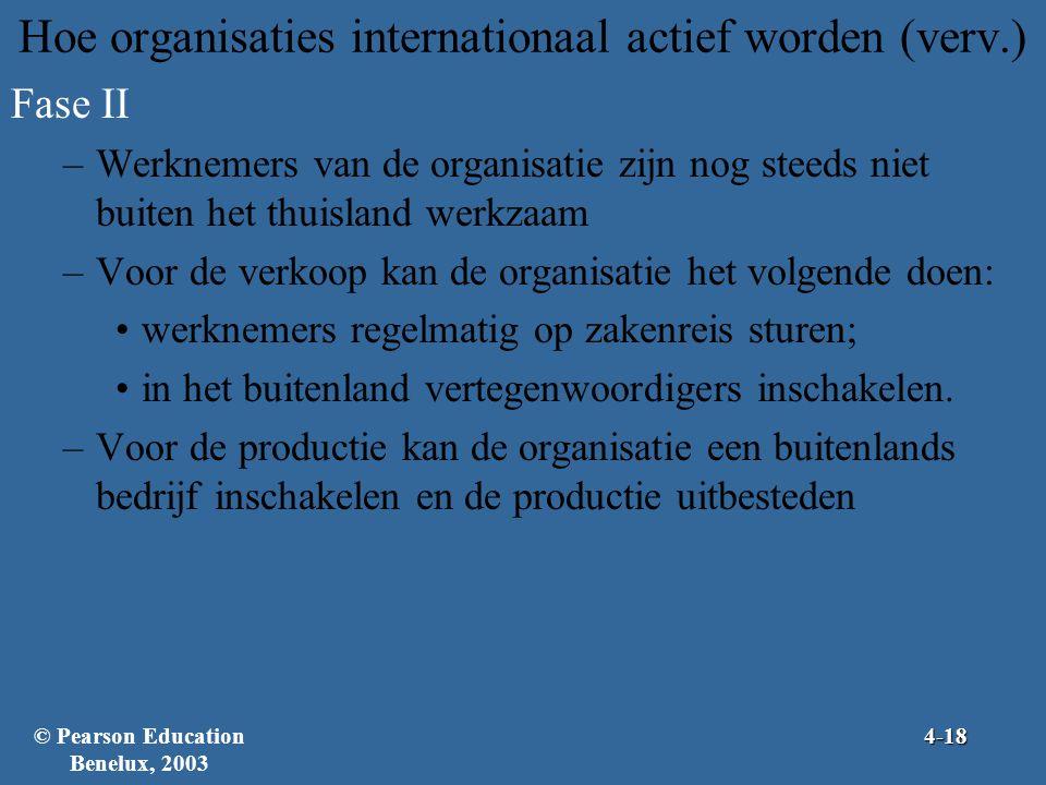 Hoe organisaties internationaal actief worden (verv.) Fase II –Werknemers van de organisatie zijn nog steeds niet buiten het thuisland werkzaam –Voor de verkoop kan de organisatie het volgende doen: •werknemers regelmatig op zakenreis sturen; •in het buitenland vertegenwoordigers inschakelen.