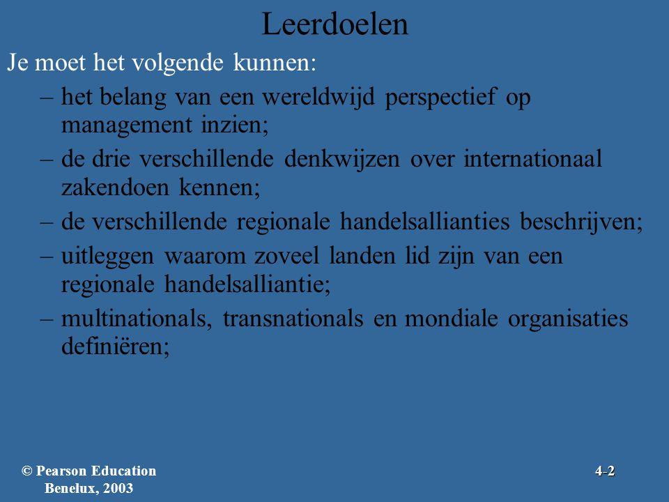 Leerdoelen Je moet het volgende kunnen: –het belang van een wereldwijd perspectief op management inzien; –de drie verschillende denkwijzen over internationaal zakendoen kennen; –de verschillende regionale handelsallianties beschrijven; –uitleggen waarom zoveel landen lid zijn van een regionale handelsalliantie; –multinationals, transnationals en mondiale organisaties definiëren; © Pearson Education Benelux, 20034-2