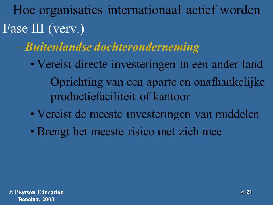 Hoe organisaties internationaal actief worden Fase III (verv.) –Buitenlandse dochteronderneming •Vereist directe investeringen in een ander land –Oprichting van een aparte en onafhankelijke productiefaciliteit of kantoor •Vereist de meeste investeringen van middelen •Brengt het meeste risico met zich mee © Pearson Education Benelux, 20034-21